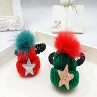 Wholesale New Year Christmas Children Christmas Hat Hairpin Hair Circle Headband girl ornament Hat Hair clip Five pointed Star Side Clip
