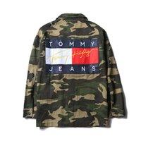 Wholesale Denim Jackets Hoodie Women - Teenager Camo Jeans Jacket Hoodies American Style Fashion Men's Skateboard Hoodie Sweatshirts Denim Casual Jackets Women Hip-Hop Loose Coat