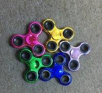 tri cobre venda por atacado-Spinner Tri-Spinner Girador de Mão de Aço Inoxidável Brinquedo EDC Sensorial Fidget Spinner Para O Autismo e TDAH Crianças / Adulto Engraçado Anti Stress brinquedos