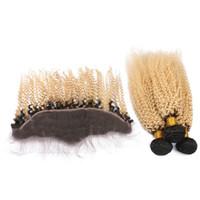 fermetures frontales en dentelle achat en gros de-Afro Kinky Curly Lace Front Front avec Bundles # 613 Blonde Full Lace Frontals avec 3 Bundles Dark Root Ombre Deux Tons de cheveux