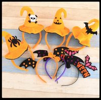 Wholesale Design Velvet Fabric - New 8 Designs Halloween Hairbands With Witch Hat For Girls Kids Adult Cute Fabric Velvet Cap Hard Headbands Party Hair Accessories