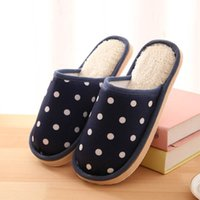 Wholesale Dot Flip Flop - Wholesale-Women Men Warm Soft Plush Home Slippers Winter Slippers Indoor Shoes pantuflas