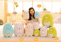 Wholesale Cute Penguin Plush Toys - 2017 New Sumikko Gurashi Corner Creature Cute Cat Dinosaur White Bear Penguin Plush Toy 1pcs 20cm to 40cm Gift Free Shipping