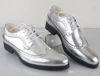 Wholesale Men S Wedding Dress Shoes - NEW Classic Men€s Silver Leather Lace-up Shoes Fashion Leisure Business Wedding Groom Shoe Breathable Shoes Mens Dress Shoe Black Gol