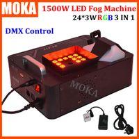 Wholesale fogger machine - 24*3w RGB LED fog machine dmx spraying Vertical smoke machine 1500w stage effect Fogger Machine For Party Club Halloween decorations
