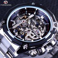 Wholesale Steampunk Mechanical Skeleton Watches - Forsining Mechanical Steampunk Design Fashion Business Dress Men Watch Top Brand Luxury Stainless Steel Automatic Skeleton Watch