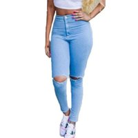 Wholesale women sexy high waist jeans - Wholesale- Hot Sale Ripped Jeans Woman High Waist Sexy Pencil Women Jeans Denim Elastic Skinny Pants Blue Jeans Plus Size Women Clothing