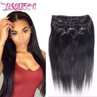 Wholesale Natural Hair Clip Ins - Malayzian Virgin Human Hair Clip In Hair Extension Natural Black Straight Unprocessed Clip Ins 12-28 Inches