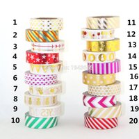 Wholesale Foil Tapes - Wholesale- 2016 NEW 1X Gold foil 15mm x10m christmas washi decorative scotch tape wholesale