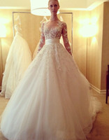 Wholesale Zuhair Murad Lace Bodice - Romantic Sheer Neck Wedding Dresses Long SLeeves A Line Illusion Bodice Zuhair Murad Lace Bridal Gowns Princess Lace Wedding Gowns