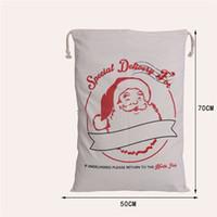 bez torbalar toptan satış-Holloween Noel Hediye Çantası Tuval Santa Çuval Çanta 2017 Santa Çuval Pamuk Bez santa çantası Geyik İpli Hediye Çantası Ücretsiz Kargo