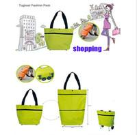 Wholesale Cartoon Bag Trolley - Portable folding roller shopping bag trolley tug hand reusable storage Shopping Bag On Wheels Rolling Grocery Tote Handbag 7 color LJJK725
