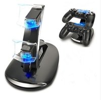 Wholesale Mini Dock Usb Wireless - LED Change Mini USB Dual Charging Dock Wireless Controller Charger Stand Mount for Xbox One PS4 Gamepad Playstation with Retail Box