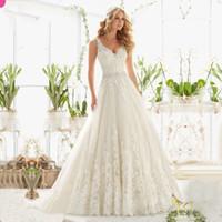 Wholesale Sexy Design Wedding Gown - 2017 Vestido De Noiva New Design A-Line Lace Wedding Dresses V-Neck Beaded Sash Backless Wedding Gowns