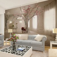 Wholesale photo print paper sizes - Custom any size 3D wall mural wallpapers for living room,Modern fashion beautiful new photo murals tree wallpaper