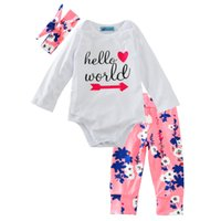 Wholesale newborn gift sets for girls online - Baby clothing Sets for Girls Fall Newborn baby Outfits bodysuit with Pants and Headwrap Stylish Hello World Rompers Baby Shower Gift