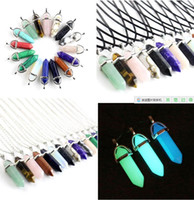 Wholesale turquoise pendant necklace men - New Bullet Shape Natural Stone Necklaces & Pendants Hexagonal Prism Quartz Turquoise Crystal Gems Necklaces Jewelry For Women Men