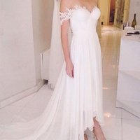 Wholesale Chiffon Asymmetrical Wedding Dress Beach - 2017 sexy elegant Lace boho hi lo Wedding Dresses bridal gowns robe de mariage beach wedding gowns plus size free shipping