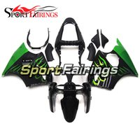 Wholesale Kawasaki Zx6r Fairings Black Green - Fairings For Kawasaki ZX6R ZX-6R Ninja 636 00 01 02 2000 2001 2002 Sportbike ABS Injection Motorcycle Fairing Kit Bodywork Black Green Flame