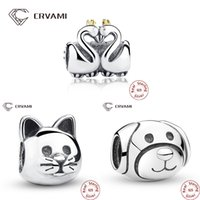 Wholesale Dog Swan - Wholesale- CRVAMI Bead, Pure 925 Sterling Silver Cute Cat Dog Swan Lovely Animal Beads Charms Fit Bracelets Necklaces Jewelry Accessories