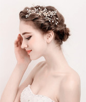 2017 Vintage Gold Pearls Wedding Hair Accessories Comb Handmade Baroque Bridal Headpiece Jóias Atacado Cheap Headdress Para Venda Novo