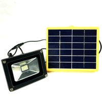 Wholesale Wiring Spotlights - Wholesale-Waterproof 10W Solar powered Outdoor LED Floodlight Portable SpotLights with 5M wire+2200mA battery for LED outdoor Garden lamp