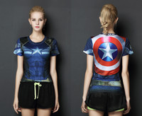 Wholesale Women Slim Cloth - Women's Exercise Gym Clothing Superhero Sytle Slim and Comfortable Elastic Cloth Captain America Shirt for Ladies Running free shipping