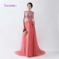 Wholesale Jacket Custom Design - Scoop Prom Dresses Beading Crystal robe de soiree Sweep Train Tulle A Line Formal Evening Gowns Zipper Design Fast Shipping