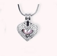 Wholesale Wholesale Small Charms Lockets - 18KGP New Small Heart Locket Cage, Can Hold A Pearl Gem Bead Cage Pendant Mounting, DIY Jewelry Charms Fitting