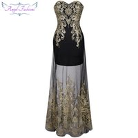 Wholesale Modern Maxi Dresses - Angel-fashions Women Strapless Embroidery Lace Sheer Illusion Column Maxi Party Dresses Prom Gowns for Women 189