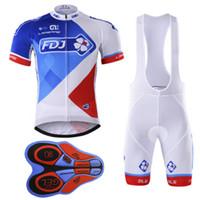 Wholesale Team Fdj - 2017 PRO team FDJ Racing Suit men's short-sleeve summer Ropa ciclismo Quick-Dry Racing Bicycle MTB cycling cloth gel pad bib shorts