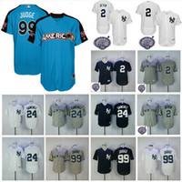 Wholesale L Men - Men's New York Yankees Jersey 2 Derek Jeter 24 Gary Sanchez 99 Aaron Judge Navy Blue 2017 All Star Baseball Jerseys