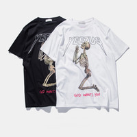 Wholesale T Shirt Color Skull - S-3XL 2017 summer kanye west yeezus T shirt men skull religious style