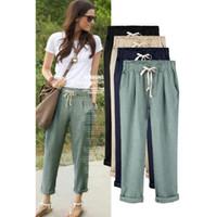 Wholesale Harem Pants For Womens - Fashion Linen Pant Casual Womens Cotton Linen Elastic Waist Trousers Summer Wide Leg Pants for Women Large Plus Size Harem Pants