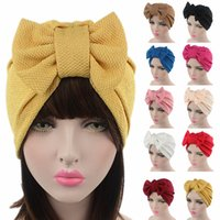 Mujeres Turbante Head Wrap Cap Ladies musulmán Hijab Bowknot Ruffle Cancer Chemo Beanie Bucket Hat A447