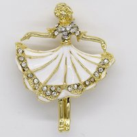 Wholesale ballerina pin resale online - Fashion Brooch Rhinestone Enamel Ballerina girl Pin brooches Party Jewelry Gift C102533
