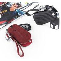 Wholesale Chain Protectors - Carbon Fiber Skin Car Key Ring Auto Key Chain Holder Key Case Cover for Audi A4 A5 A6 Q5 Q7 Keys Protector