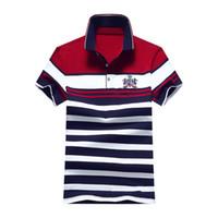 ingrosso camicie da uomo di moda giovanile-New Fashion Summer Mens Polo Camicia casual a righe Polo uomo camicia di cotone per la gioventù maschile Ralphmen XZ-032