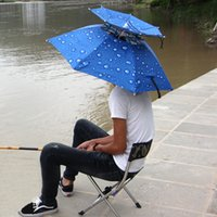 Outdoor Large Double-deck Ciclismo Umbrella Cap Pesca Escursioni Spiaggia Camping Sunshade Sunny Rainy Anti-UV Cappello ombrello cap 2508098