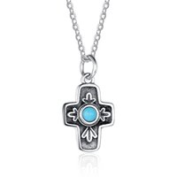 Wholesale Vintage Sterling Turquoise - 925 Sterling Silver Cross Design Pendent Necklace Vintage Style Silver Jewelry Simulated Turquoise Agate Necklaces For Women