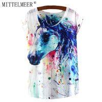 Wholesale Horse T Shirts For Women - Wholesale-MITTELMEER New T-Shirt Women O-Neck Short Sleeve Casual Summer Tops For Ladies Animal Print Colorful Horse Tees Cool T shirt