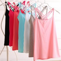 Wholesale Novelty Combs Wholesale - Wholesale- Summer Style 2015 New Fashion Novelty Sling Women's Tanks Combed Cotton Sleeveless Sexy Solid Casual Crop Tops Tee-shirts