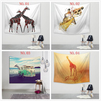 Printed blanket pictures - Creative Carpet Wall Hanging Cloth Art Tapestry Picture Cute Giraffe Polyester Fabric Beach Blanket Decoration House Tapestries