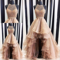 Wholesale Beach Evening Wear - 2018 High Low Gold Evening Dresses Real Photo Weddings Gowns Halter Beaded Puffy Formal Beach Special Occasion Party Dress Custom Made
