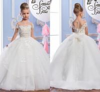 güzel elbiseler elbiseler toptan satış-2017 İnciler Dantel Sheer Boyun Tül Arapça Çiçek Kız Elbise Sheer Boyun Vintage Çocuk Alayı Elbiseler Güzel Çiçek Kız Gelinlik