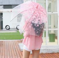 Wholesale Sakura Wedding - Sakura Transparent Umbrella Long Handle Sun Rain Umbrellas Women Girl Clear Princes Wedding Bridesmaid Umbrella 4 Colors OOA1898