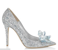 обувь большие кристаллы оптовых-Женские девушки Золушка Кристалл Rhinestone шпильки партии свадебные туфли на шпильках насосы обувь серебро свадебные аксессуары большой размер рождественский подарок