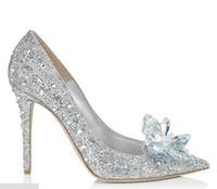 aschenputtelpumpen großhandel-Womens Mädchen Cinderella Crystal Strass Stiletto Heels Party Hochzeit Stilettos Pumps Schuhe Silber Braut Accessoires große Größe Weihnachtsgeschenk