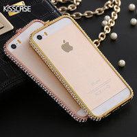Wholesale Bumper Wholesale Iphone - KISSCASE Luxury Diamond Bumper For iPhone 5S 5 SE Case Metal Rhinestone Diamond Frame Back Cover Coque For iPhone 5 5s Case Capa