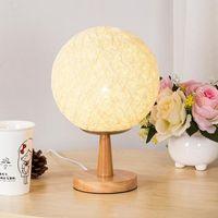 Wholesale wood bedside lamps bedroom - Creative personality Designer modern hemp line rattan table lamp birthday gift bedroom bedside lamp